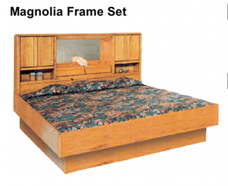 La Jolla Magnolia Oak Headboard and Frame