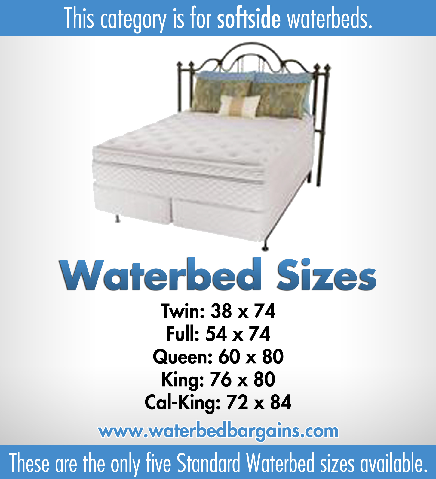 Softside waterbed   Waterbed with memory foam layer   Sizes: Super Single Queen King