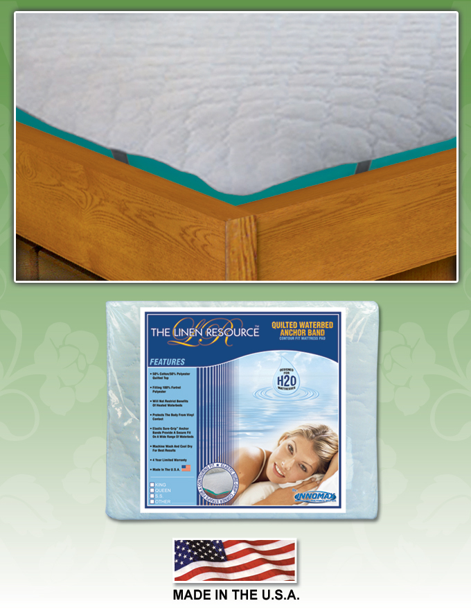 Quilted Waterbed Anchor Band Contour Fit Mattress Pad by Innomax